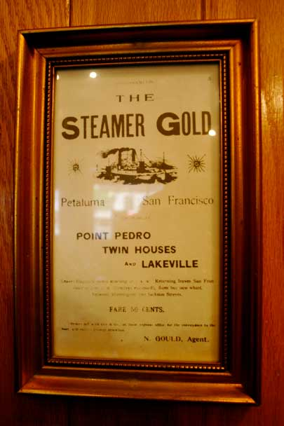 Vintage ad for the Steamer Gold from San Francisco to Petaluma